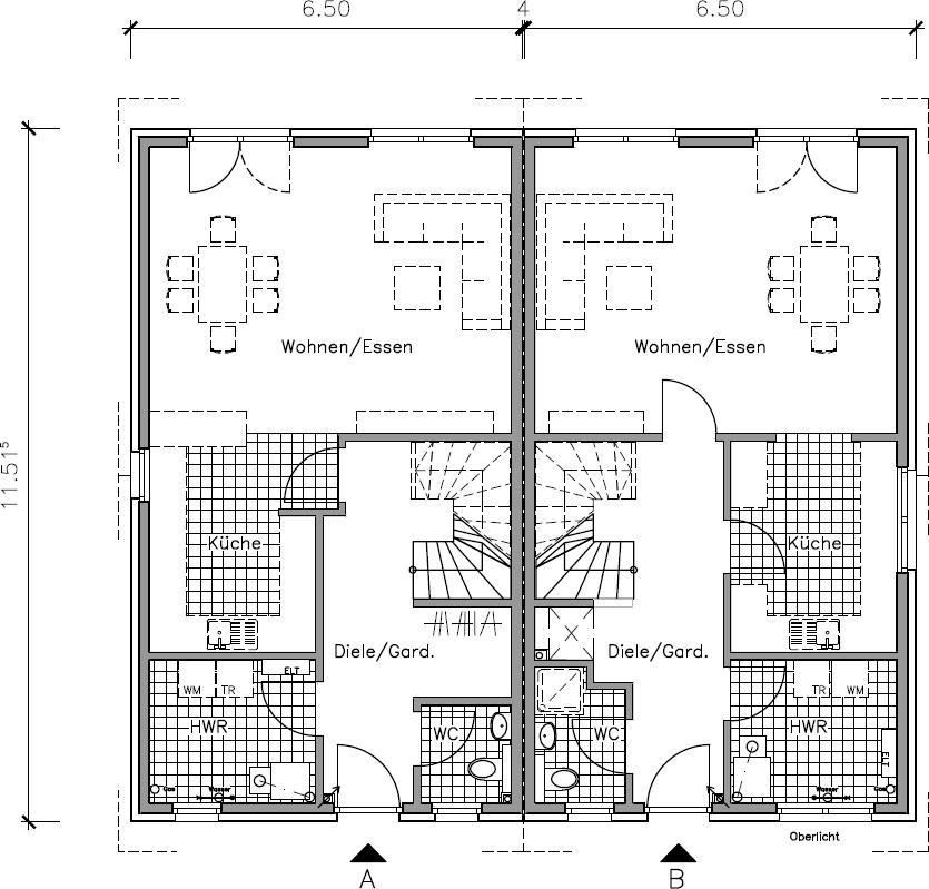 Doppelhaus 120 - ein Doppelhaus Grundriss von NURDAHAUS