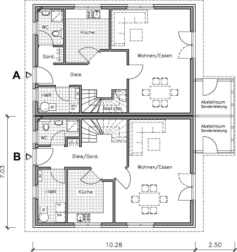 Doppelhaus schlüsselfertig mit 120 m² Grundriss von NURDAHAUS